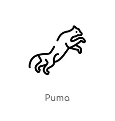 Outline puma icon isolated black simple line vector