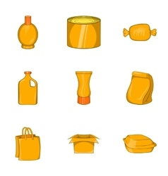 Pack icons set cartoon style vector