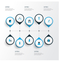 person icons colored set with social relations vector image
