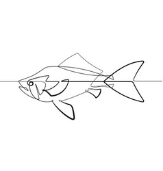 Pet gold fish one single continuous line cartoon v vector