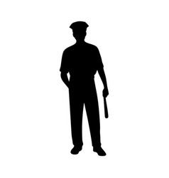 piliceman male silhouette on white vector image