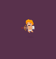 Pixel art cupid vector