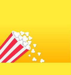 Popcorn falling down striped bucket box movie vector