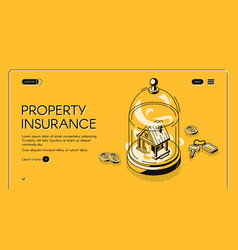 property insurance isometric landing page banner vector image