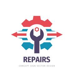 Repair service business logo design industry vector