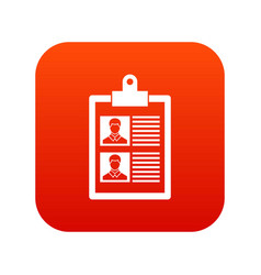 Resume of two candidates icon digital red vector