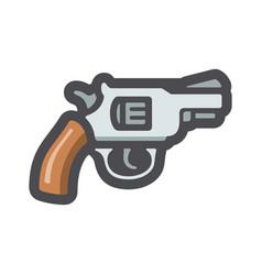 revolver wlid west gun icon cartoon vector image