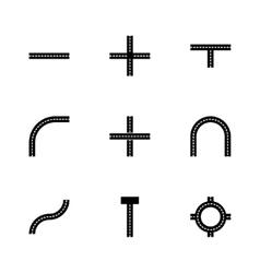Road elements icon set vector
