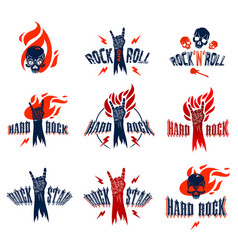 rock hand sign on fire set hot music rock and vector image