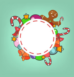 round christmas frame vector image