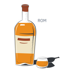 Rum alcoholic beverage in bottle and glass vector