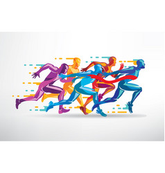 running people set of stylized silhouettes vector image