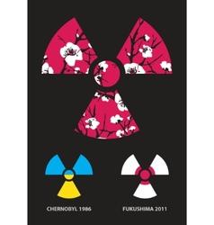 Sakura in radiation symbol vector