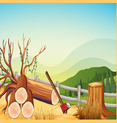 Scene with firewoods and hills vector