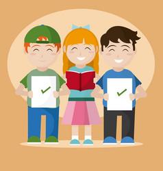 school students cartoons vector image