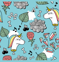 seamless pattern with unicorn dead head bones and vector image