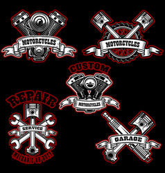 set motorcycle repair emblems bike motor vector image