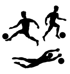 set of soccer players with balls silhouettes vector image