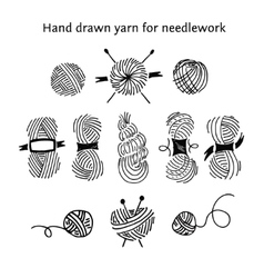 Set skeins of different forms Hand-drawn vector