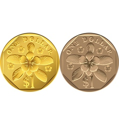 Singapore dollar coins vector
