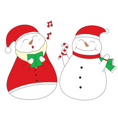 singing and happy snowman design element clipart vector image