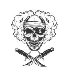skull in bandana and pirate eye patch vector image
