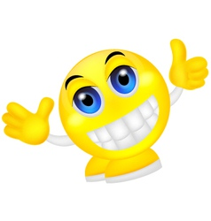 Smiley emoticon waving hand vector