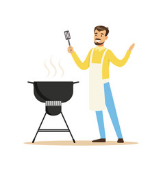 Smiling man in apron preparing barbecue on a grill vector