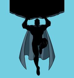 Superhero holding boulder silhouette vector