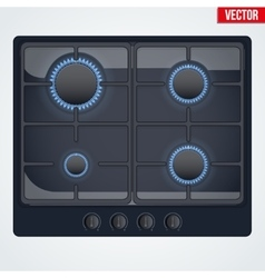 surface of gas stove with flame vector image