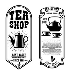 tea shop flyer design element for logo label sign vector image