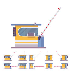 Toll booth with barrier vector