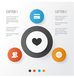 User icons set collection of card people love vector