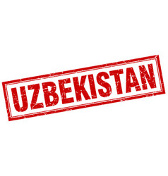 Uzbekistan red square grunge stamp on white vector
