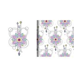 Watercolor mandala print and seamless vector
