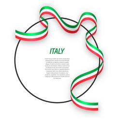 waving ribbon flag italy on circle frame vector image