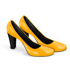 yellow high heels women shoes vector image