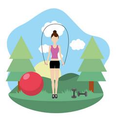 young woman exercising cartoon vector image