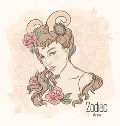 zodiac of aries as girl with vector image