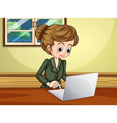 A lady using the laptop near the window vector image