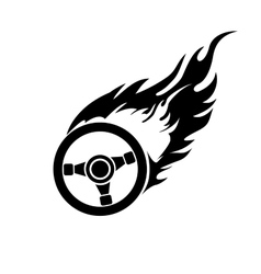 Black and white burning automobile steering vector image vector image