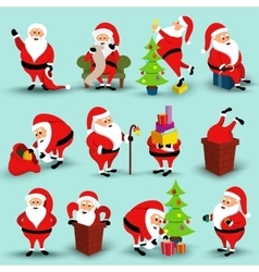 Collection of Christmas smiling Santa Claus vector image