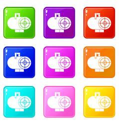Industrial fan heater icons 9 set vector