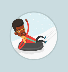 man sledding on snow rubber tube in the mountains vector image vector image