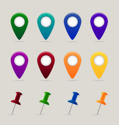 Set of map pins and markers vector image vector image
