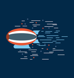 zeppelin red white blue over navy background image vector image