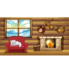 A living room with stuffed animal head decors vector image vector image