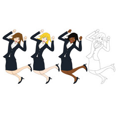 business woman jumping vector image vector image