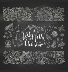 chalk merry christmas decorations and design vector image vector image