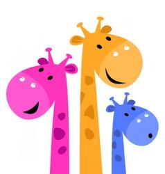 Colorful giraffe family vector